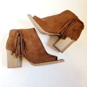 Suede open toe ankle boots with fringe